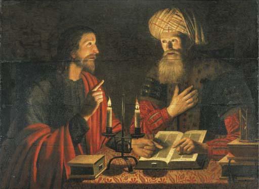 Christ talks with Nicodemus at Night by Crijn Hendricksz