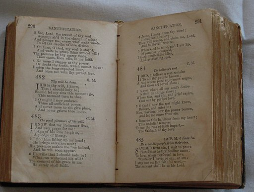 Nineteenth_Century_Methodist_Hymnal_in_Barratt's_Chapel_Museum,_Frederica,_Delaware.jpg
