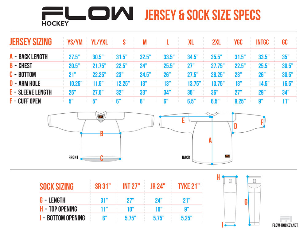 Flow jersey and sock sizing chart