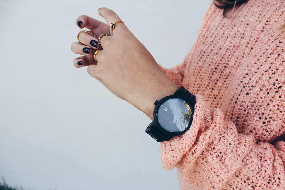 Jord Watch side view with pink sweater
