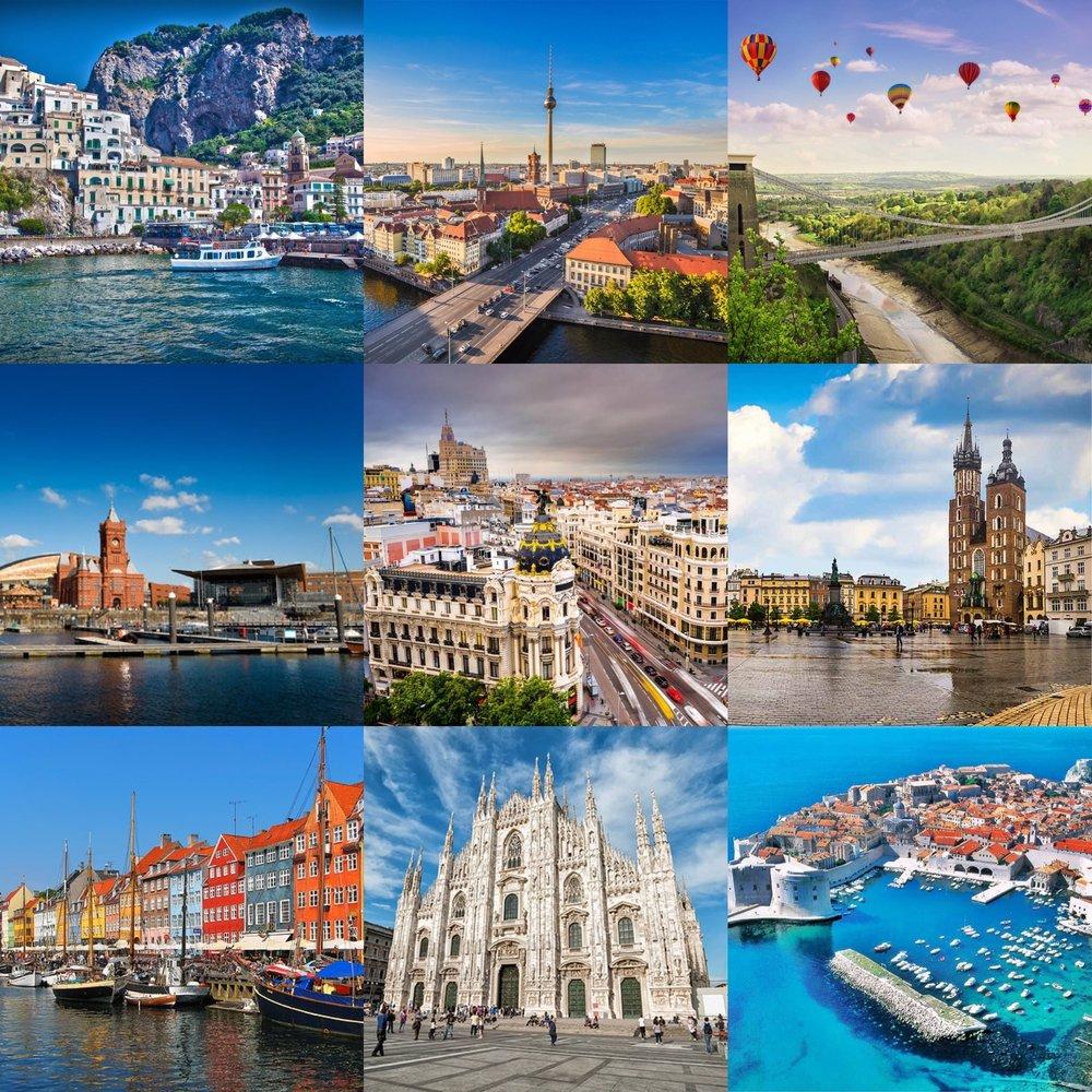 Top from left;Amalfi, Berlin, Bristol. Middle from left; Cardiff, Madrid, Krakow. Bottom from left; Copenhagen, Milan, Hvar.