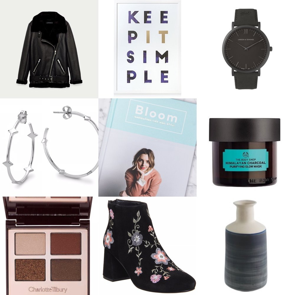 Top from left; Zara Jacket, Oliver Bonas Wall Art, Larrson & Jennings Watch. Middle from left; Missoma Earrings, Estee Lalonde Bloom, The                                 Body Shop Mask. Bottom from left; Charlotte Tilbury Palette, Office Boots, Habitat Vase.