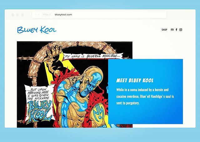 "The ""Bluey Kool"" web site is now live! You can purchase your copy of ""Bluey Kool"" issue #1 at: blueykool.com A major shout out to @mrvicking for designing my web site. Hit him up if you need a site designed. All the blessings!! #blueykool"