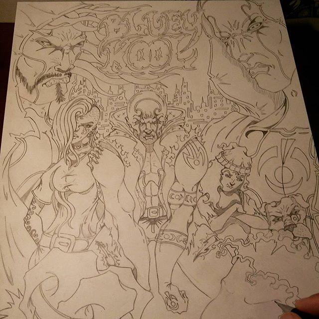 "Penciling ""Bluey Kool group shot"" for posters and prints. Purchase"" Bluey Kool"" issue #1 at:  blueykool.com"