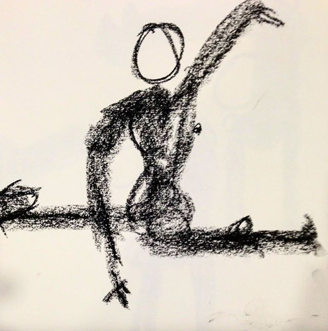However and wherever I am is exactly where I am supposed to be. Try that self affirmation and watch your light turn on as you begin to manifest that belief. #yogi #gratitude #flexible #split #figuredrawing #pose #art (drawing by @tuniebetesh )