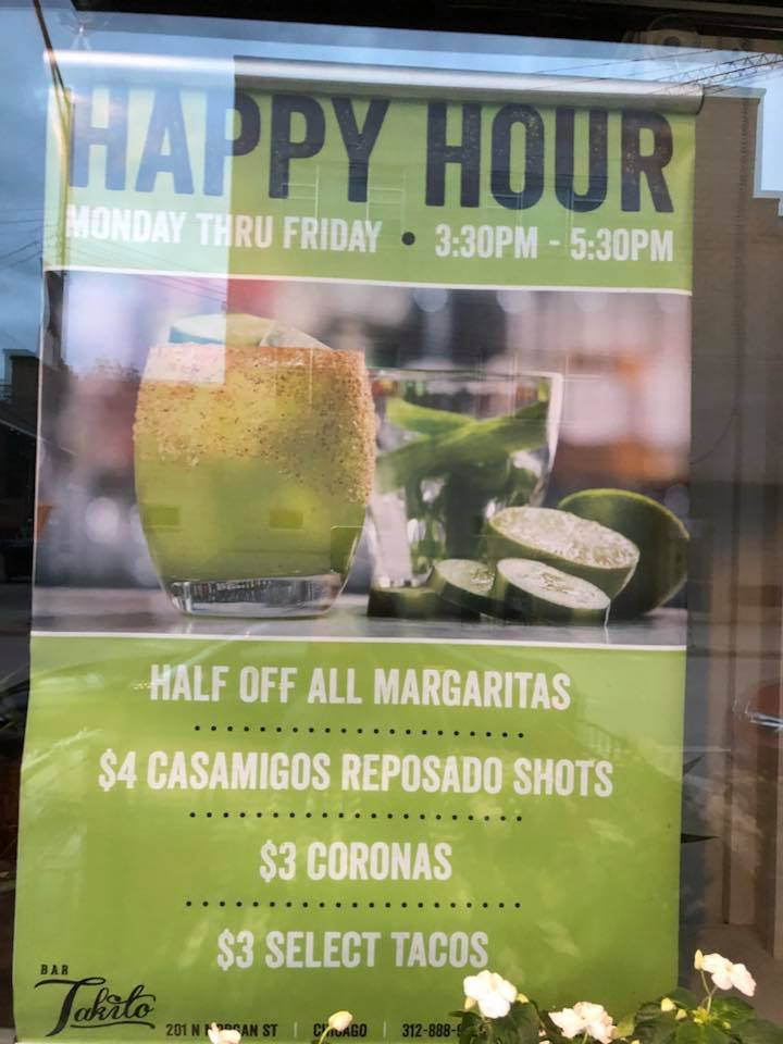 Bar Takito Happy Hours  - 201 N Morgan St.