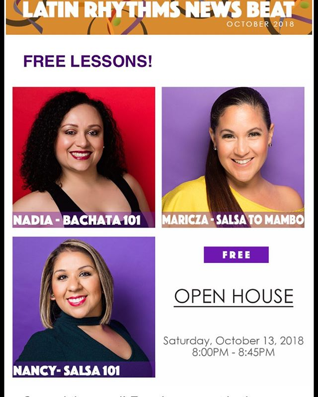 Free dance lessons this weekend @latinrhythmschi  Salsa 101 with Nancy Pantoja Salsa to Mambo with Maricza Bachata 101 with Nadia Alvarado