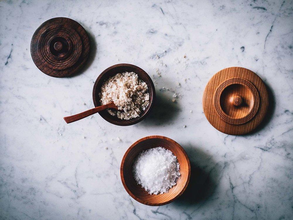 walnut & cherry lidded salt bowls