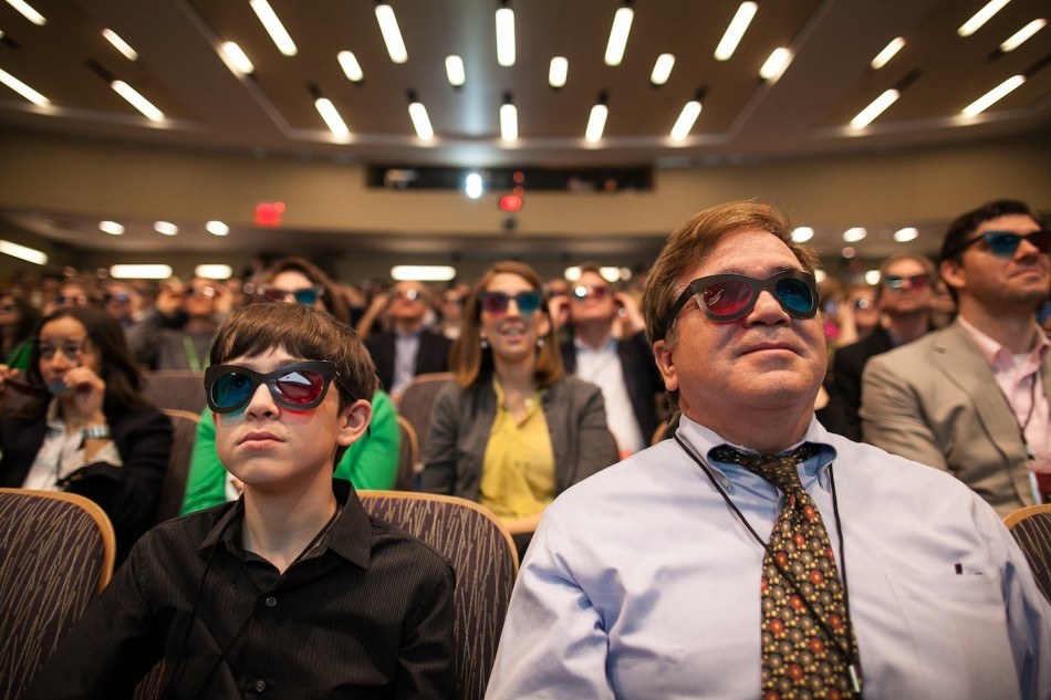 From 3D Glasses to 3D Printing… Thomas and his dad Ralph Suarez in the audience at TDIA 2013.