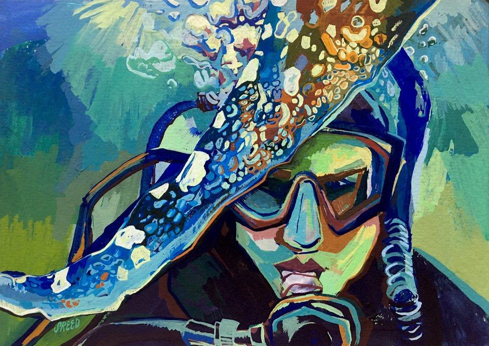 "Deep Sea/ 2017/ Gouache on Paper/ 5 x 7"""
