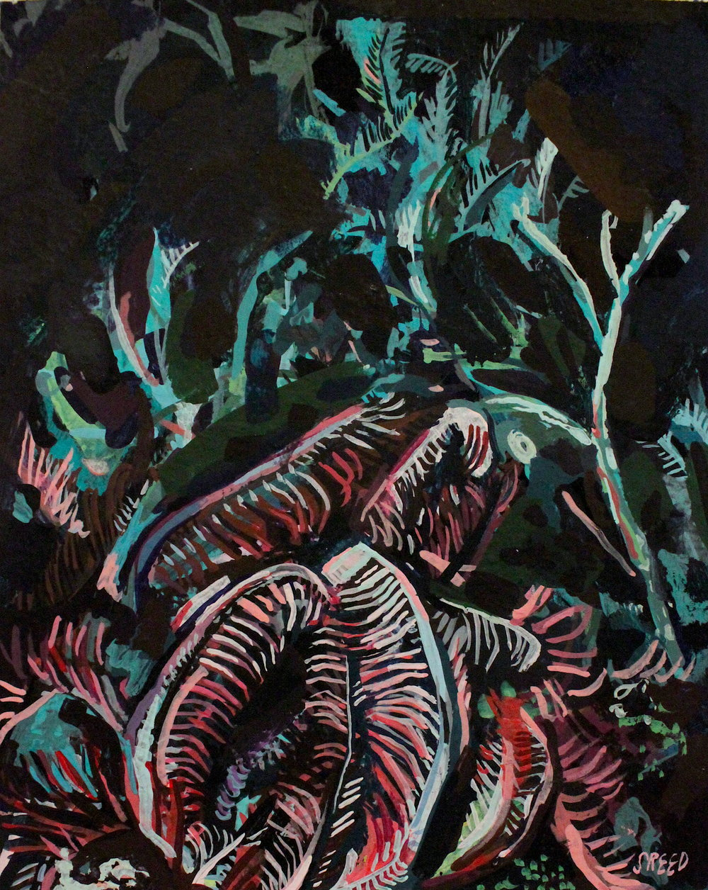 Depths, 2017, Gouache on Paper, 4 x 5""