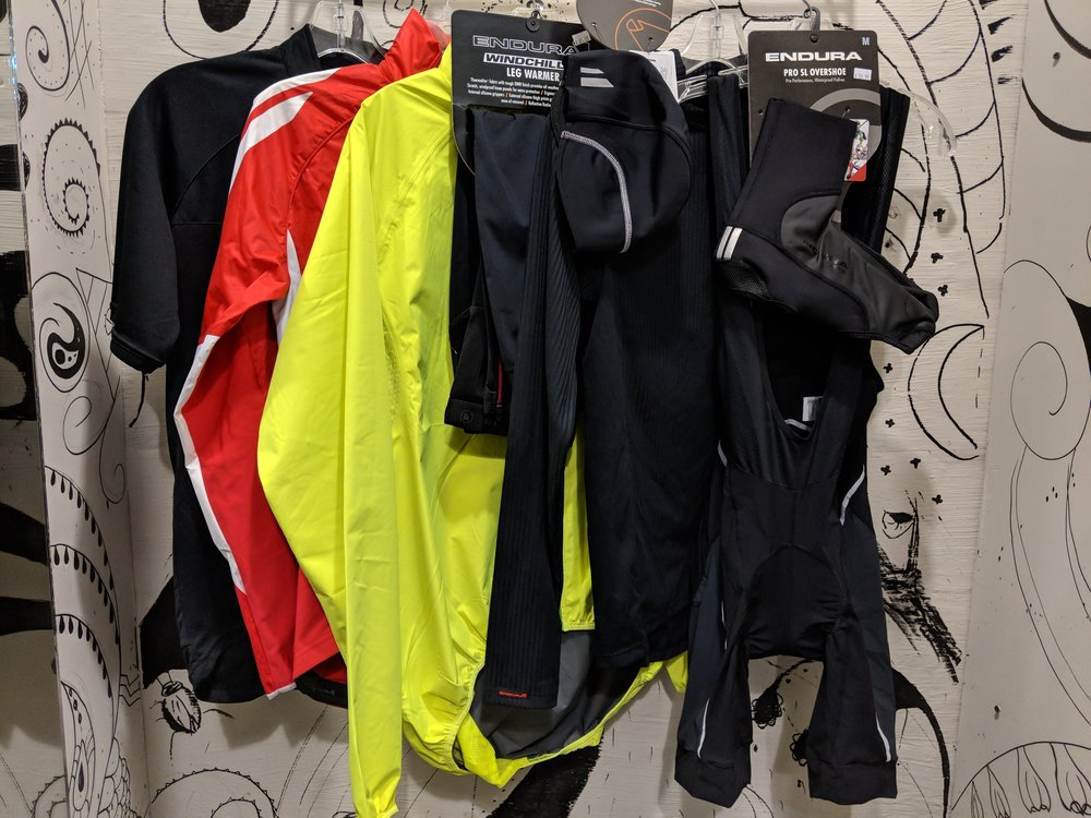 35-50 degrees:  Merino wool base layer, long sleeve jersey, cap, full-fingered gloves, pack-a-jacket, long riding pants or long bib shorts or cover pants over bike shorts, booties, wool socks