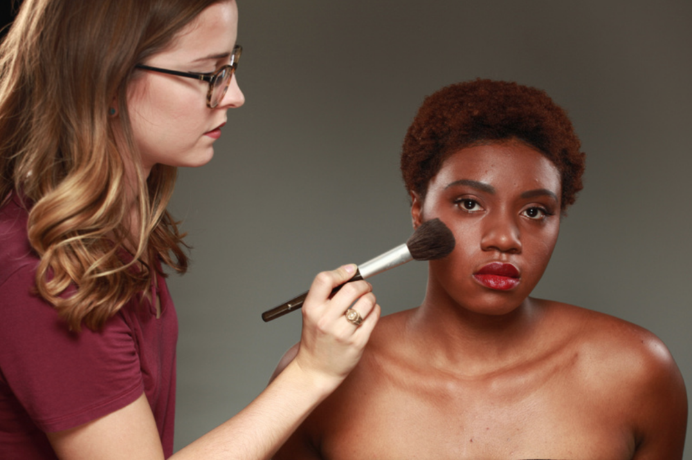 behind the scenes at AMUA berry lip makeup touch ups