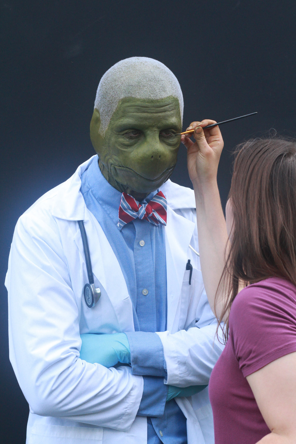behind the scenes at AMUA turtle humanoid doctor touch ups