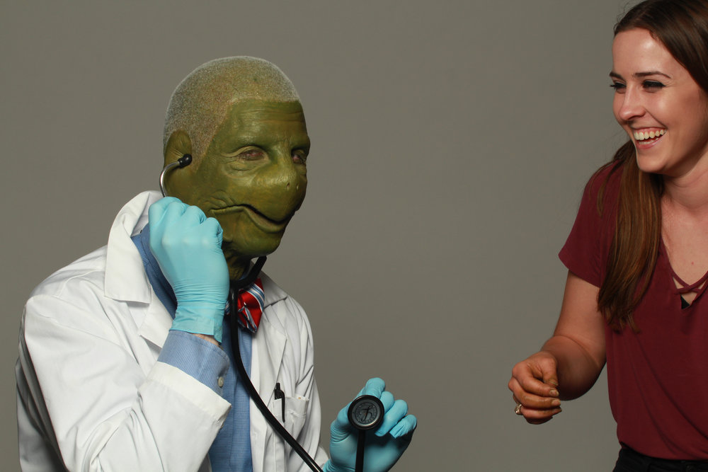 behind the scenes at AMUA turtle humanoid doctor laughing sfx makeup