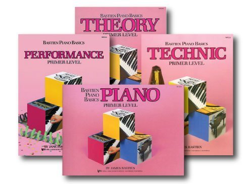 Bastien Piano Basics Primer Level - Recommended for students who have no prior piano experience. Ages five and up. I do not use the theory book and opt to supplement music theory with other exercises.