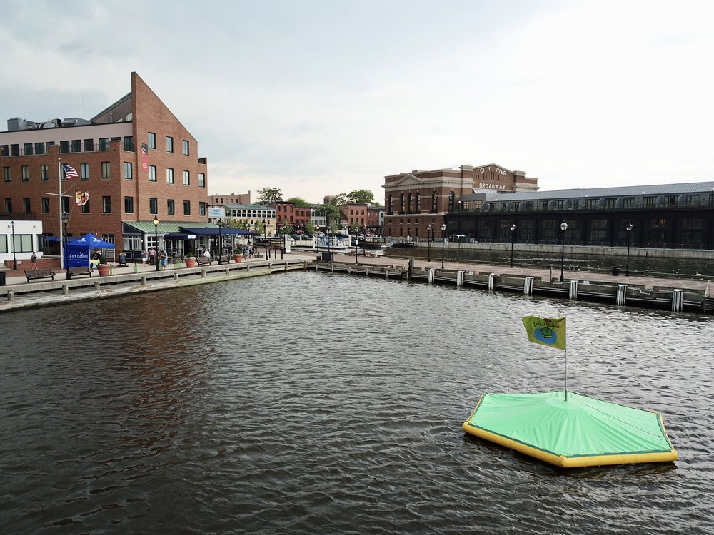 Hit biodegradable golf balls at a technology packed floating target at Barcocina!  Located in Fells Point, Maryland.  Our waterfront driving ranges are great for corporate events, weddings, happy hours, and celebrations.