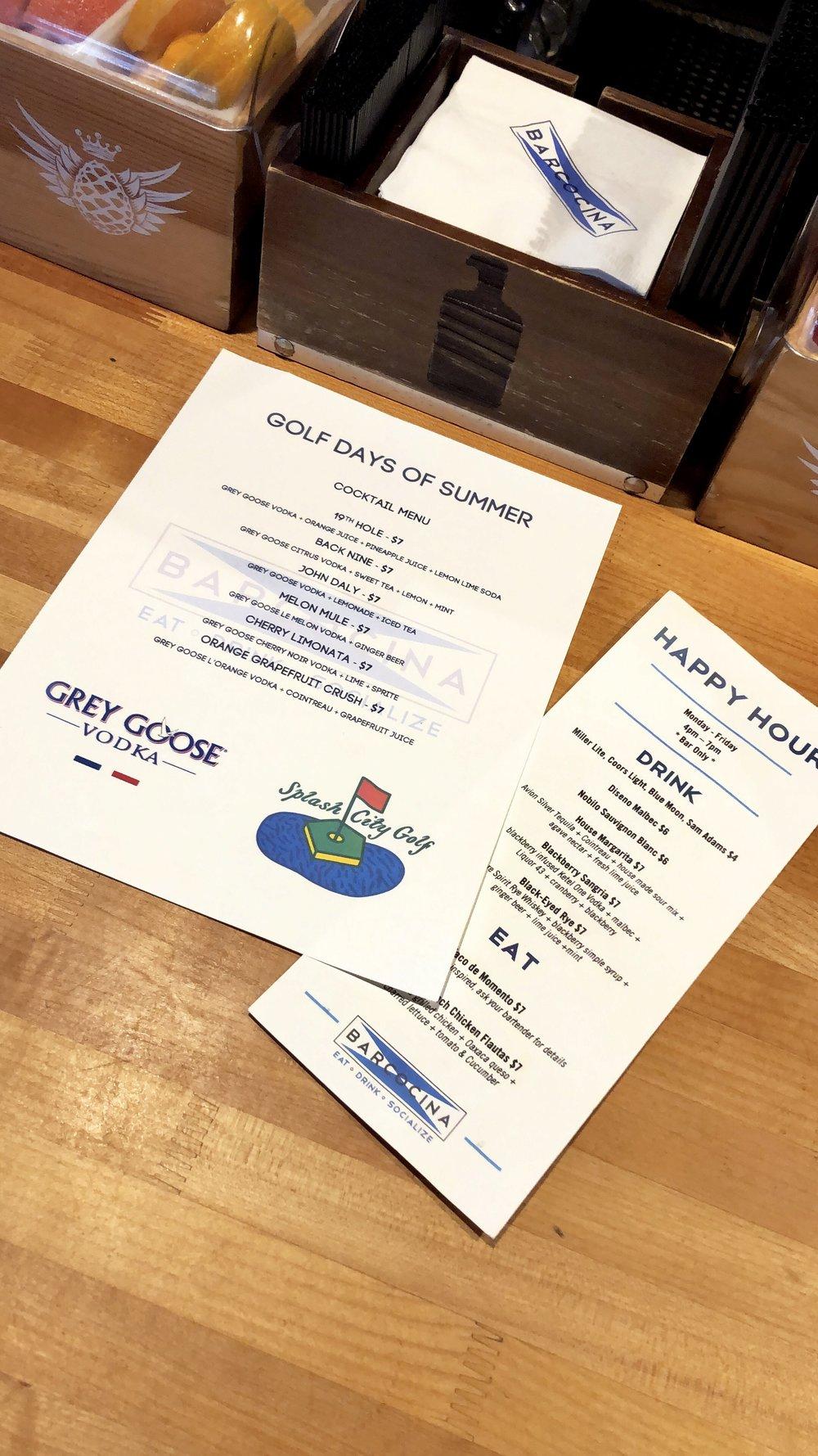 Splash City Golf and Grey Goose branded menu.