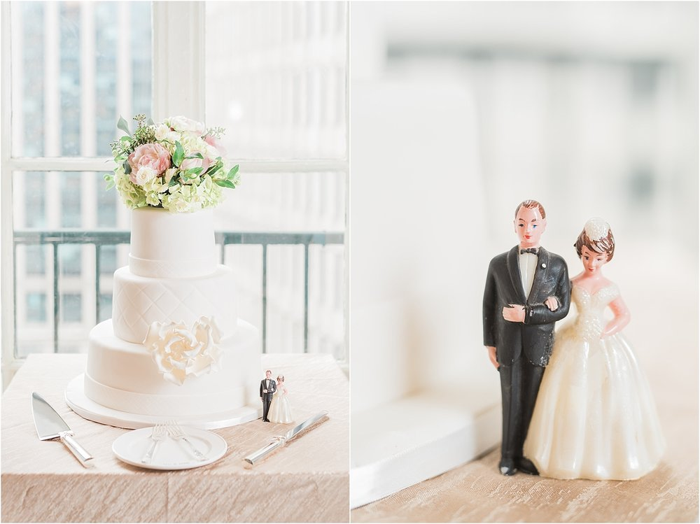 Ali & John used her parent's cake topper! How sweet and classic!