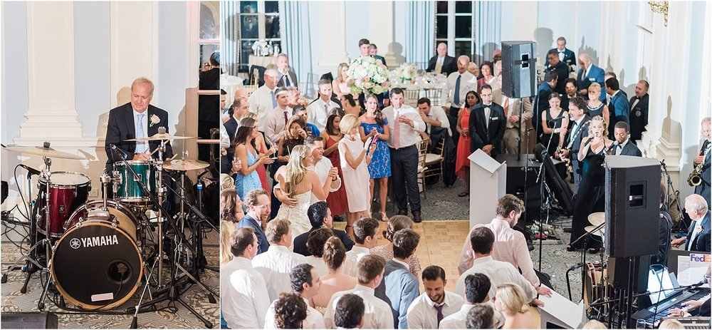 Ali's dad surprised her and joined the band as their drummer in the middle of the reception!! Their guests went wild!