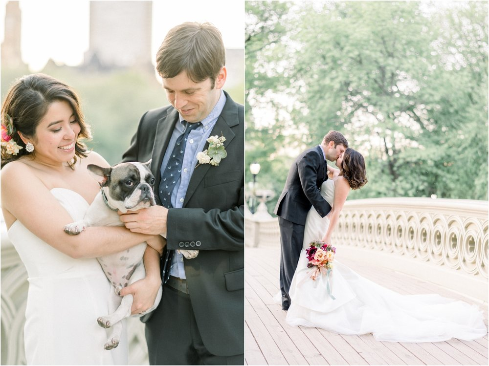 bride and groom with dog Central Park