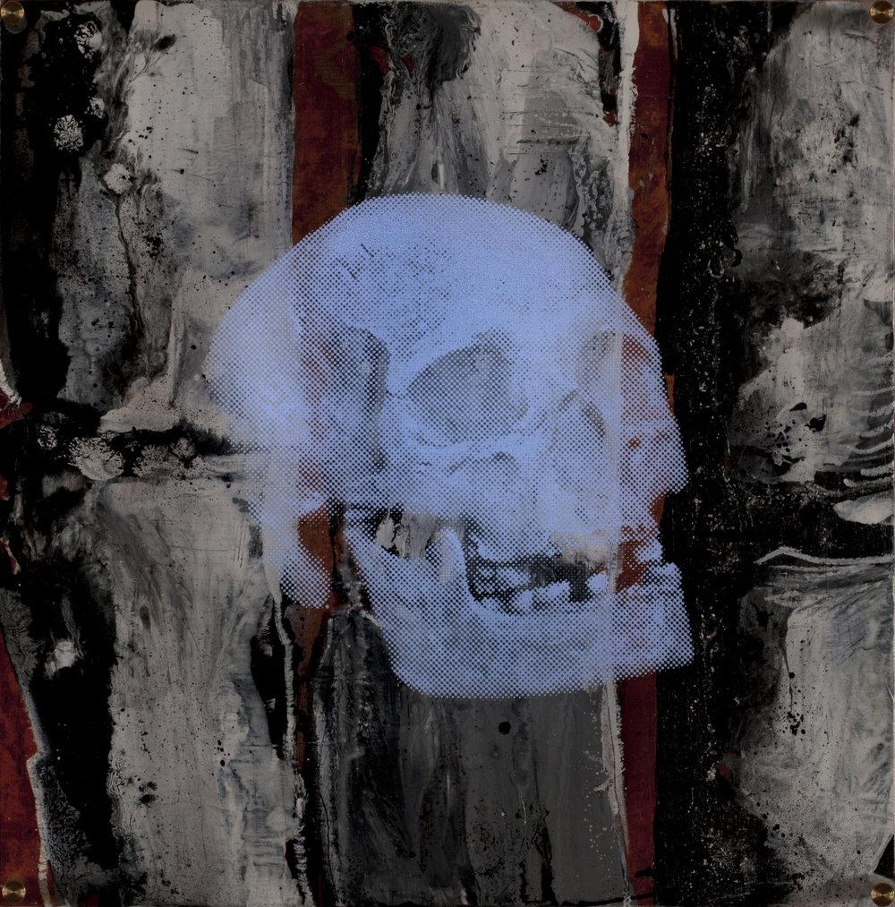 Vision de nuit  Technique mixte : altuglass et bois 40 x 40 cm