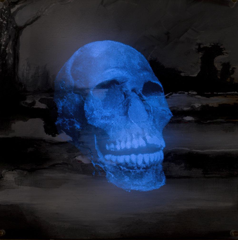Paysage  Vision de nuit  Technique mixte : altuglass et bois 40 x 40 cm