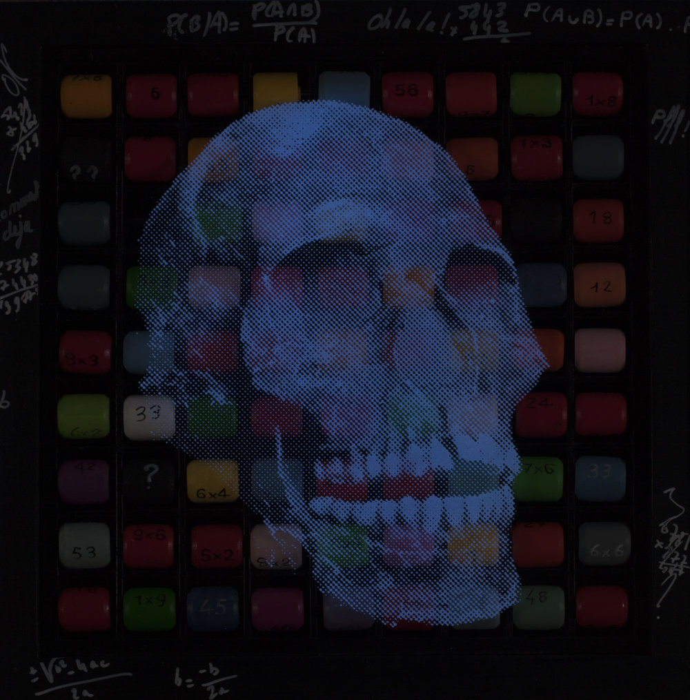 Toujours dans ma tête  Vision de nuit  Technique mixte : altuglass et bois 40 x 40 cm