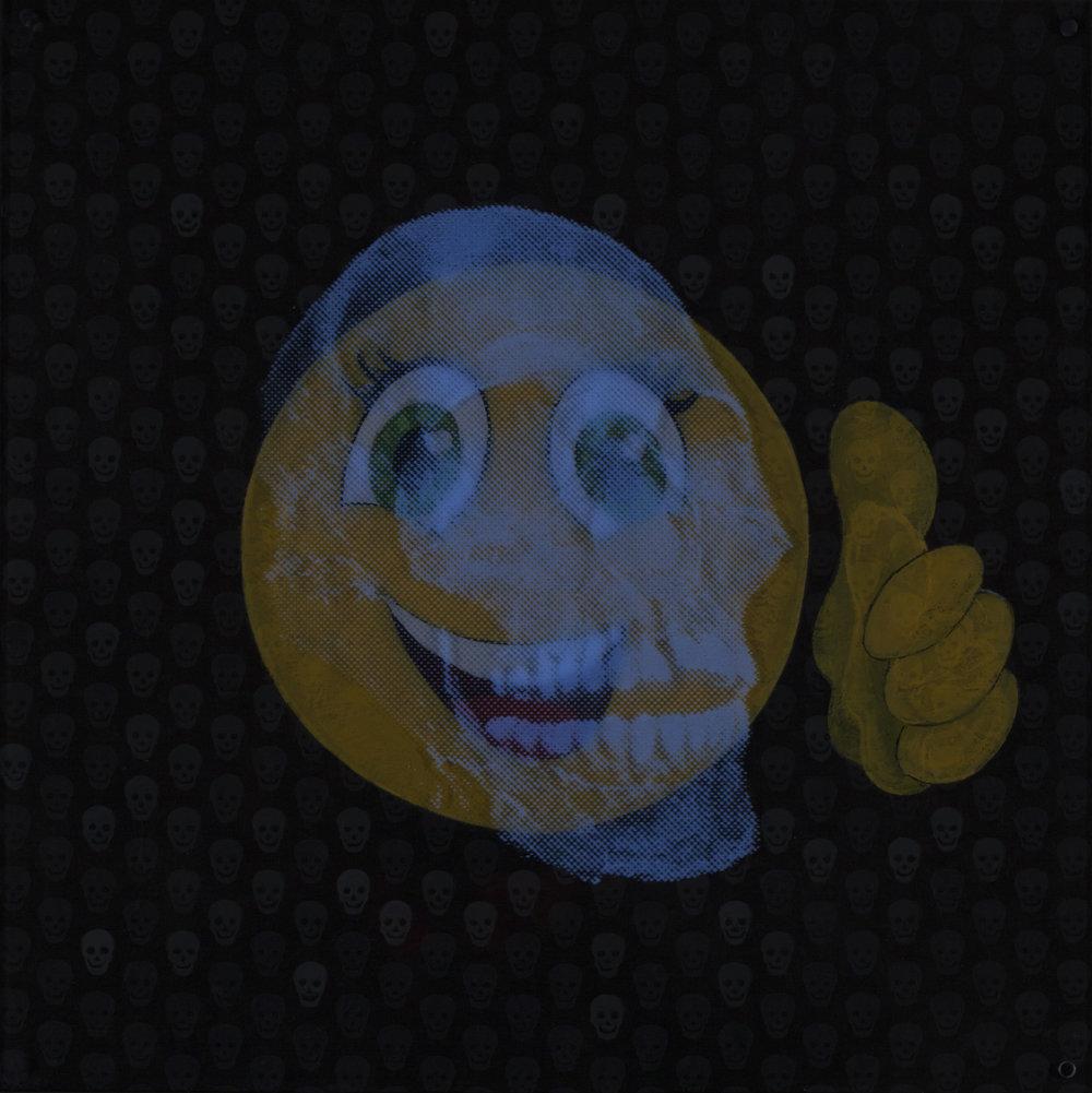 Tout va bien  Vision de nuit  Technique mixte : altuglass et bois 40 x 40 cm
