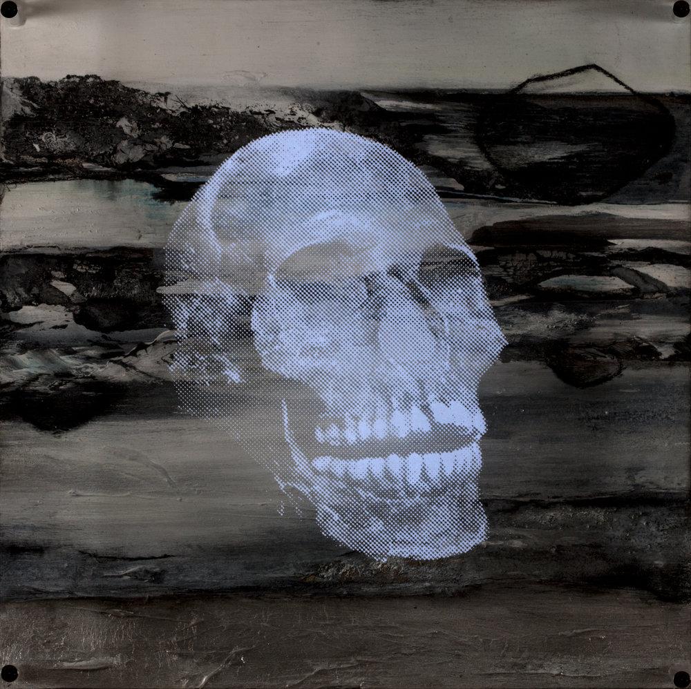 Eau  Vision de nuit  Technique mixte : altuglass et bois 40 x 40 cm