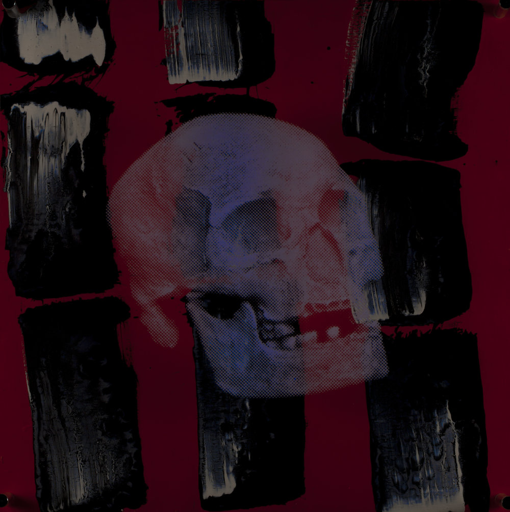 Rouge  Vision de nuit  Technique mixte : altuglass et bois 40 x 40 cm