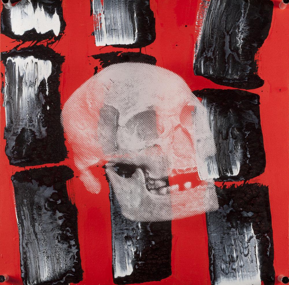 Rouge  Vision de jour  Technique mixte : altuglass et bois 40 x 40 cm