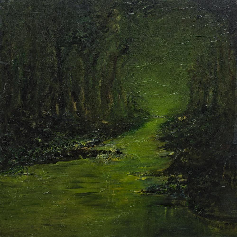 Forêt Huile sur toile - 120 X 120 cm
