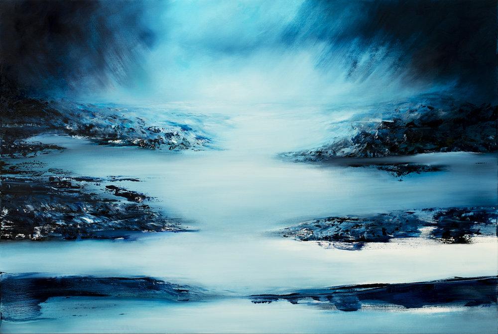 Tout en bleu Huile sur toile - 130 X 198 cm