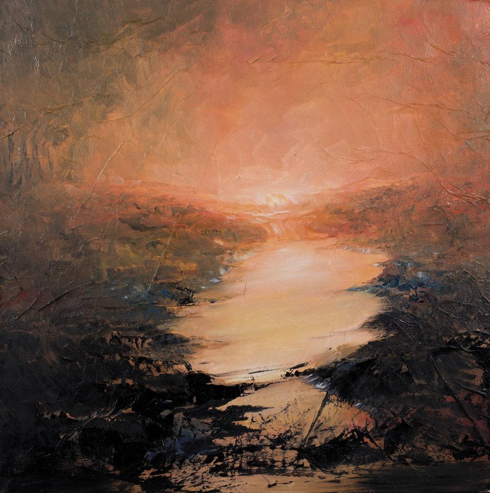 Sunset Huile sur toile - 60 X 60 cm