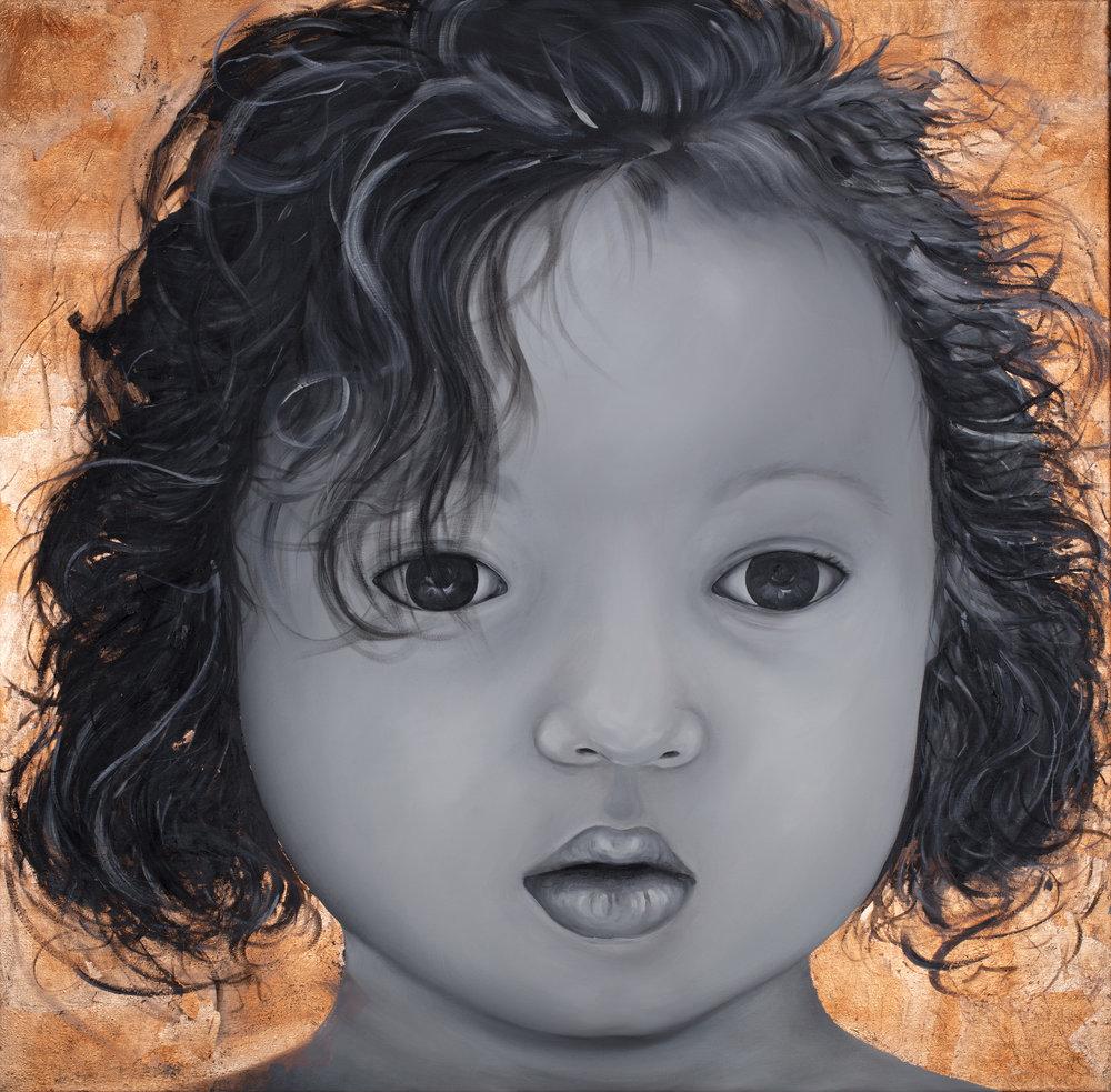 La Justice et Le Monde  Huile sur toile 120 X 120 cm