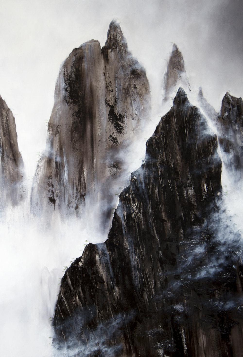 Retour de Chine Huile sur toile 160 x 110 cm