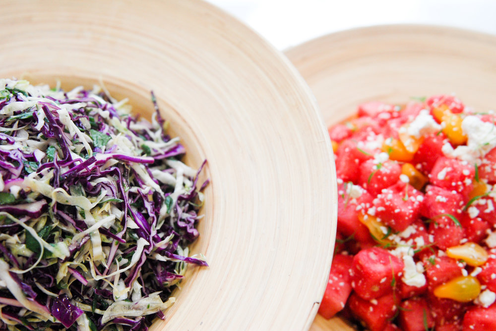 Cole Slaw and Watermelon Salads