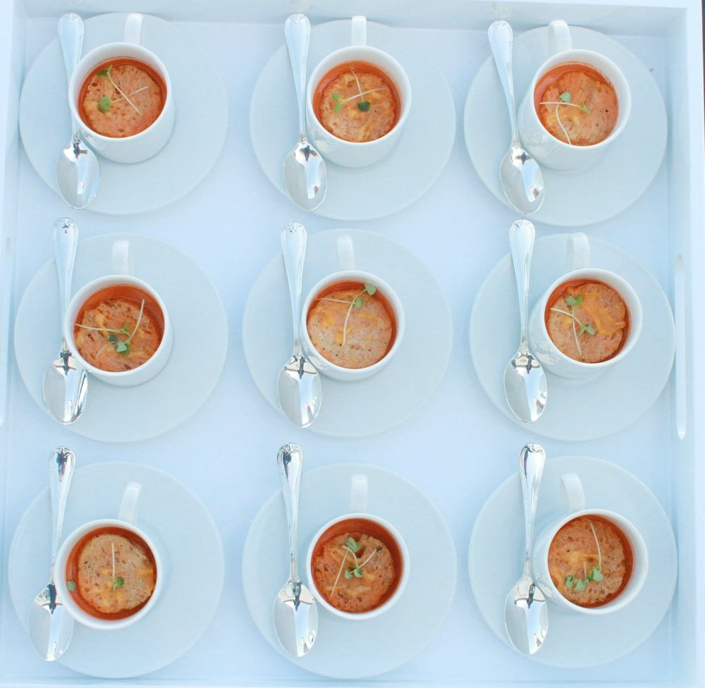 Tomato Bisque with Cheddar Crouton