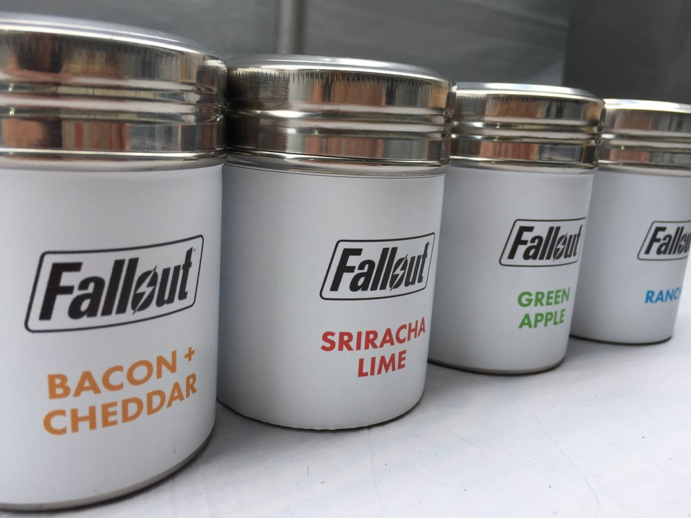 """Branded """"Fallout"""" Flavored Salts for Popcorn."""