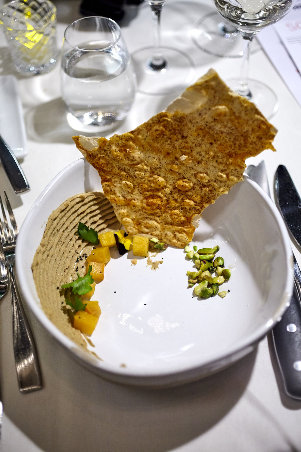 Our famous Cricket Hummus served with Pickled Persimmon,Lava Salt, Pistachio and Brown Butter.