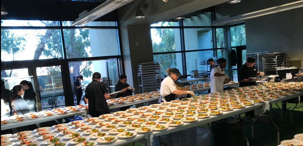 This is what it looks like in the kitchen area of a venue, it requires much more labor and equipment expense than a hotel, but the results are far more creative and customizable.
