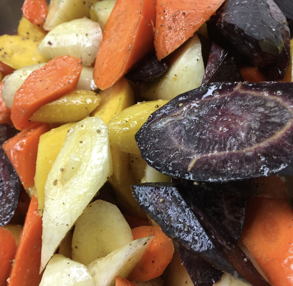Local Heirloom Carrots ready for roasting, the more caramelized the better!