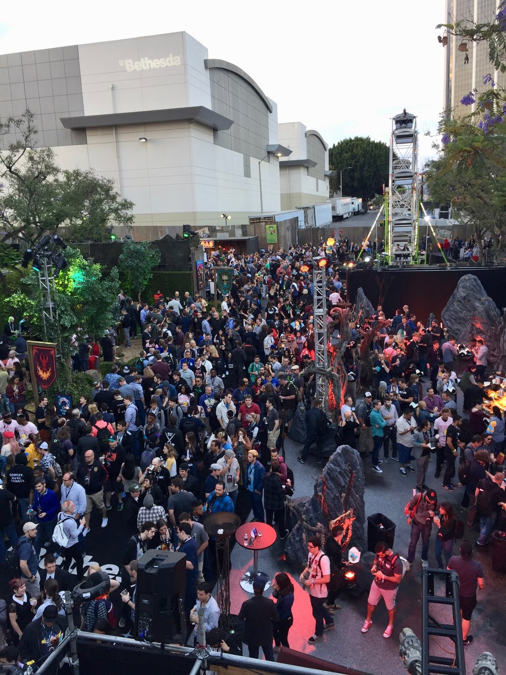 A shot of a launch event we catered for Bethesda where thousands of gamers and fans gathered.