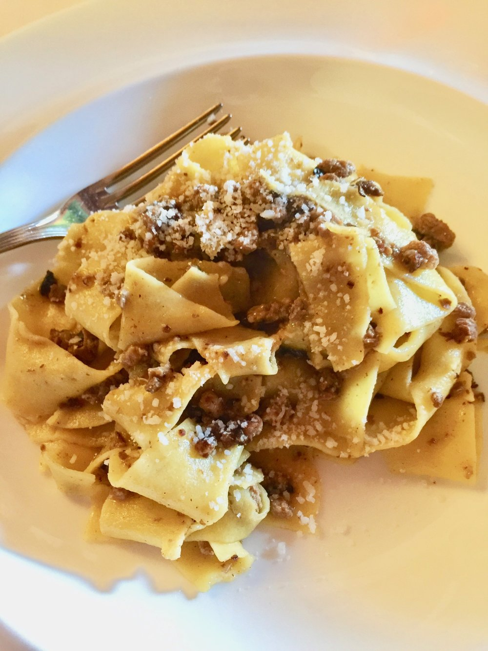 Another gorgeous pasta that dreams are made of: pappardelle, sausage, porcini mushrooms.