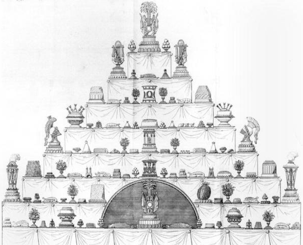 Here is an example of one of Marie-Antonin Careme's tables for one of his events. He would illustrate his pastries and sugar sculptures prior to creating them. Yikes!