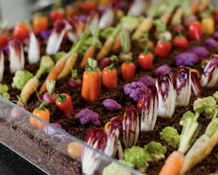Our famous Edible Crudités Garden, complete with edible dirt.