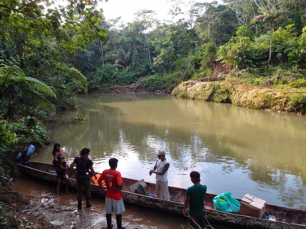 Huaorani friends on the Shiripuno River in the Ecuadorian Amazon.