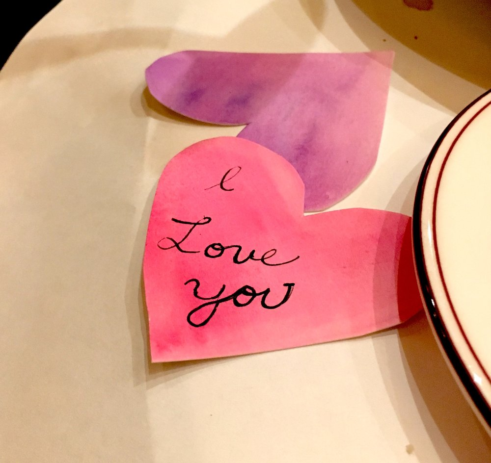 Sweet love notes written on the hearts during dinner.
