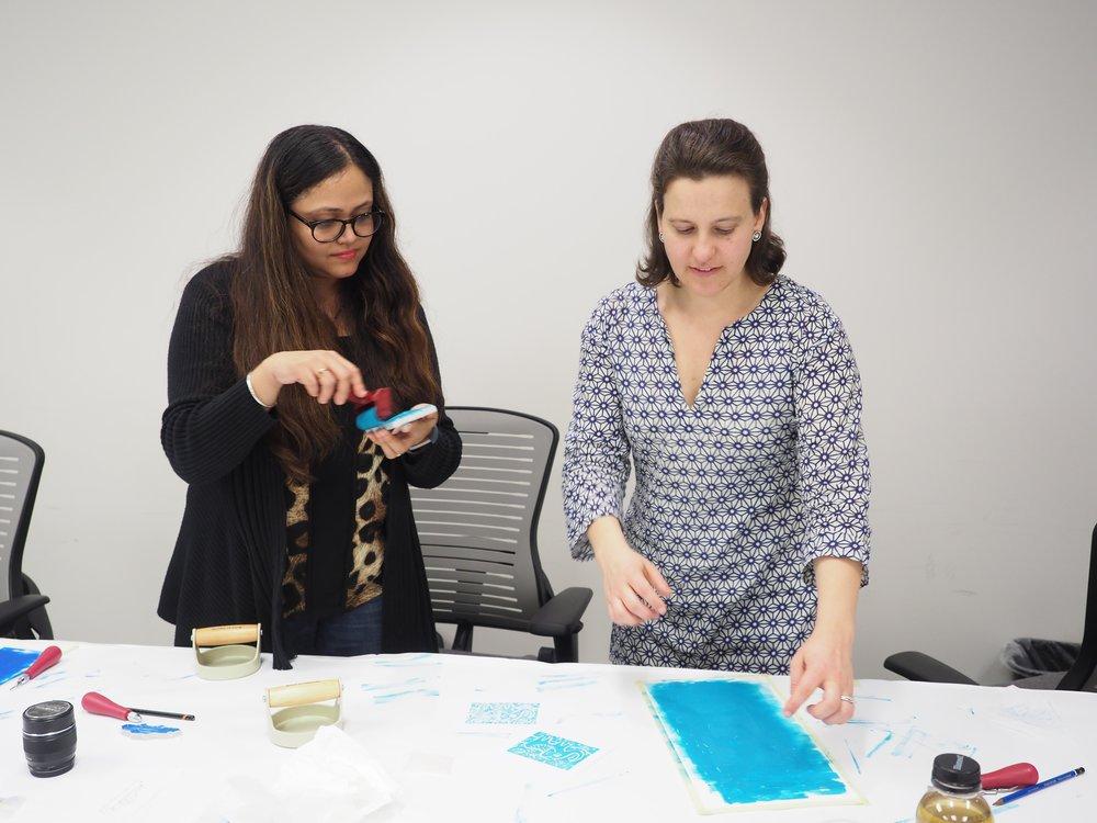 Teaching block printing techniques